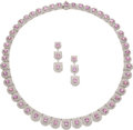 Estate Jewelry:Suites, Pink Sapphire, Diamond, White Gold Jewelry Suite. ...