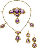 Estate Jewelry:Suites, Victorian Amethyst, Gold Parure . ...