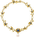 Estate Jewelry:Necklaces, South Sea Cultured Pearl, Sapphire, Diamond, Gold Necklace, DonnaPizarro. ...