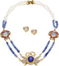 Estate Jewelry:Necklaces, Tanzanite, Diamond, Sapphire, Moonstone, Gold Jewelry Suite, DonnaPizarro . ... (Total: 3 Items)