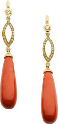 Estate Jewelry:Earrings, Coral, Diamond, Gold Earrings. ... (Total: 2 Pieces)