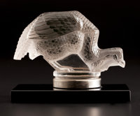 R. LALIQUE 'Pintade' automobile mascot in tinted glass with original chrome and black glass base, circa 1929 Wh