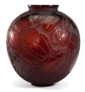Paintings, R. LALIQUE. 'Gros Scarabees' vase in deep amber glass, circa 1923. Engraved signature. 11-3/4 inches (30 cm). M p. 415, 892...
