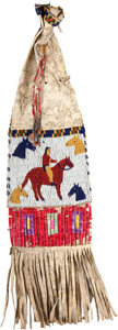 American Indian Art:Beadwork and Quillwork, A SIOUX PICTORIAL BEADED HIDE TOBACCO BAG. c. 1910...