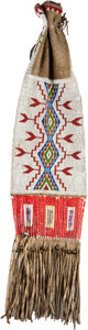 American Indian Art:Beadwork and Quillwork, A SIOUX BEADED HIDE TOBACCO BAG. c. 1900...