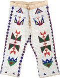 American Indian Art:Beadwork and Quillwork, A PAIR OF SIOUX BEADED HIDE BREECHES. c. 1900...