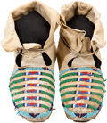 American Indian Art:Beadwork and Quillwork, A PAIR OF CROW BEADED HIDE MOCCASINS. c. 1920... (Total: 2 Items)