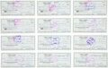 Baseball Collectibles:Others, Bobby Thomson Signed Checks Lot of 25....