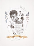 Boxing Collectibles:Autographs, Floyd Patterson and Ingemar Johansson Duel Signed Lithograph....