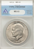 Eisenhower Dollars, 1972 $1 Type 2 MS63 ANACS. NGC Census: (67/812). PCGS Population (424/1553). Mintage: 75,890,000. Numismedia Wsl. Price for...