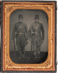 Military & Patriotic:Civil War, Quarter Plate Civil War Tintype of Two Federal Infantrymen.... (Total: 2 Items)