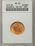 Colombia, Colombia: Republic gold 5 Pesos 1919-A,...