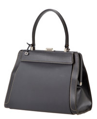 Delvaux 4-Way Black Illusion Jumping Tote with Black Rubber, Black Leather, Black Fur, and Cream Leather Snap-on P