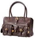 Luxury Accessories:Bags, Lana Marks Matte Chocolate Alligator Bells & Whistles Tote,Retail $19,000. ...
