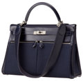 Luxury Accessories:Bags, Hermes 35cm Indigo Calf Box Leather & Canvas Extremely Rare Kelly Lakis with Palladium Hardware. ...