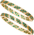 Estate Jewelry:Suites, Emerald, Gold Bracelets. ... (Total: 2 Items)
