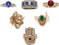 Estate Jewelry:Suites, Ruby, Emerald, Sapphire, Tanzanite, Gold Rings. ... (Total: 6Items)