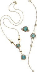 Estate Jewelry:Suites, Art Deco Blue Zircon, Gold Jewelry Suite. ... (Total: 4 Items)