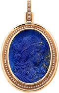Estate Jewelry:Cameos, Lapis Lazuli Cameo, Diamond, Gold Pendant. ...