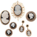 Estate Jewelry:Lots, Hardstone Cameo, Cultured Pearl, Gold Jewelry. ... (Total: 5 Items)