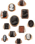 Estate Jewelry:Lots, Hardstone & Lava Cameo, Gold Rings. ... (Total: 12 Items)