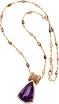 Estate Jewelry:Necklaces, Diamond, Amethyst, Pink Sapphire, Peridot, Gold Pendant-Necklace....