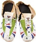 American Indian Art:Beadwork and Quillwork, A PAIR OF PLAINS BEADED HIDE MOCCASINS. c. 1890... (Total: 2 Items)