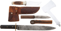 Lot of Three Interesting Knives: Case XX Hatchet Knife, Mid-Nineteenth Century Dirk, and Large Old British Bowie K