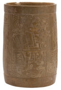 Antiques:Antiquities, Maya Buff Cylinder with Carved Deities...