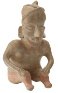 Antiques:Antiquities, Seated Figure with Double Banded Headdress...