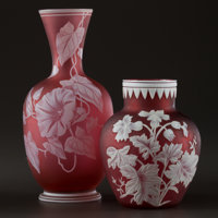 THOMAS WEBB AND SONS Two cameo glass vases with floral decoration, the larger with lily-of-the-valley and a butter