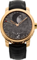 Timepieces:Wristwatch, Martin Braun Selene Meteorite Dial Moon Phase, No. K-002 RG, One Of Five Rose Gold Plate Models Produced . ...