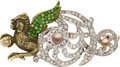 Estate Jewelry:Brooches - Pins, Victorian Diamond, Demantoid Garnet, Pearl, Ruby, Platinum-Topped Gold Brooch. ...