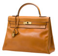 Luxury Accessories:Bags, Hermes 1960's 32cm Cognac Calf Box Leather Kelly with Palladium Hardware. ...