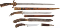 Lot of Four German Stag-Handled Hunting Knives
