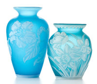 THOMAS WEBB AND SONS Two cameo glass vases patterned with wildflowers, circa 1890 Marks: Smaller vase with etch