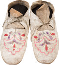 American Indian Art:Beadwork and Quillwork, A PAIR OF SIOUX QUILLED HIDE MOCCASINS. c. 1890... (Total: 2 Items)
