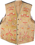 American Indian Art:Beadwork and Quillwork, A SANTEE SIOUX QUILLED HIDE VEST. c. 1890...