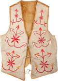 American Indian Art:Beadwork and Quillwork, A SANTEE SIOUX QUILLED HIDE VEST. c. 1890. ...