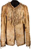 American Indian Art:War Shirts/Garments, A PLAINS FRINGED HIDE SCOUT JACKET. c. 1880...