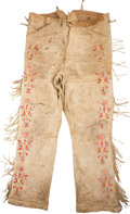 American Indian Art:Beadwork and Quillwork, A PAIR OF SIOUX QUILLED HIDE TROUSERS. c. 1890...