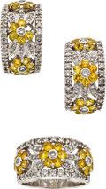 Estate Jewelry:Suites, Diamond, Yellow Sapphire, White Gold Jewelry Suite. ... (Total: 3Items)