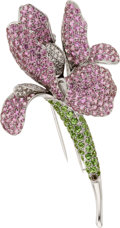 Estate Jewelry:Brooches - Pins, Pink Sapphire, Tsavorite Garnet, Diamond, White Gold Clip-Brooch. ...
