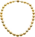 Estate Jewelry:Pearls, Golden South Sea Cultured Pearl, Gold Necklace. ...