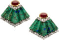 Estate Jewelry:Earrings, Diamond, Ruby, Azurmalachite, Platinum, Gold Earrings, David Webb. ...