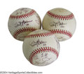 Autographs:Baseballs, 2000 San Francisco Giants Team Signed Baseballs Lot of 3. Threestrong specimens feature the great Dusty Baker on the sweet...(Total: 3 Items)