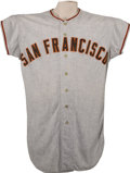 Baseball Collectibles:Uniforms, 1958 Willie Mays Game Worn Jersey.. One of the most significant artifacts within this auction, both for the great stature ...