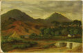 Fine Art - Painting, American:Antique  (Pre 1900), FANNY E. FOSTER. Mountain Village, 1885. Oil on canvas.14in. x 22-1/4in.. Signed at lower left F E Foster/1885. ...