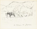 Fine Art - Painting, European:Other , ANDRE DENOYER DE SEGONZAC (French, 1884-1974). Working in theHayfield. Ink on paper. 7-3/4in. x 9-1/2in.. Signed at low...(Total: 1 Item)