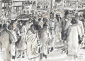 Fine Art - Painting, American:Other , ARTIST UNKNOWN (Twentieth Century). Busy Street Scene, 1986.Ink and wash on paper. 11-1/2in. x 15-3/4in.. Signed illegi...